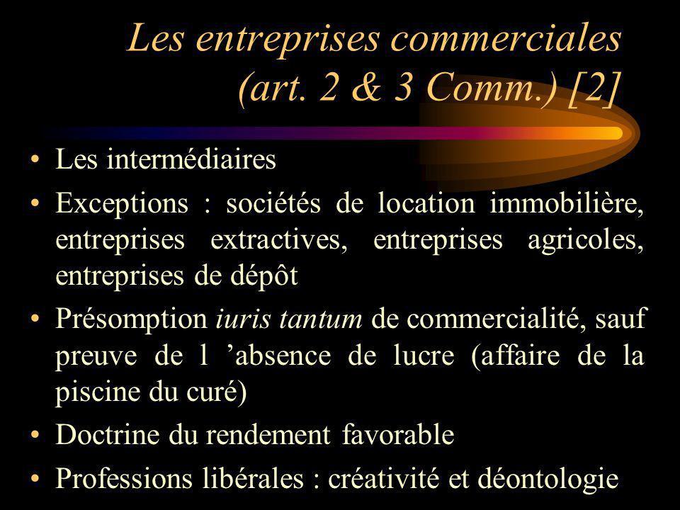 Les entreprises commerciales (art. 2 & 3 Comm.) [2]